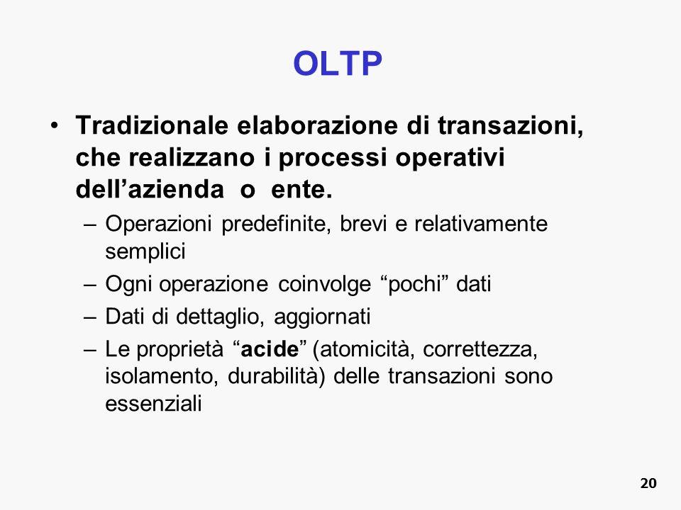 OLTP Tradizionale elaborazione di transazioni, che realizzano i processi operativi dell'azienda o ente.