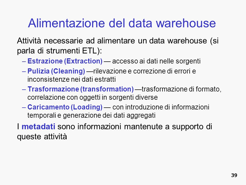 Alimentazione del data warehouse