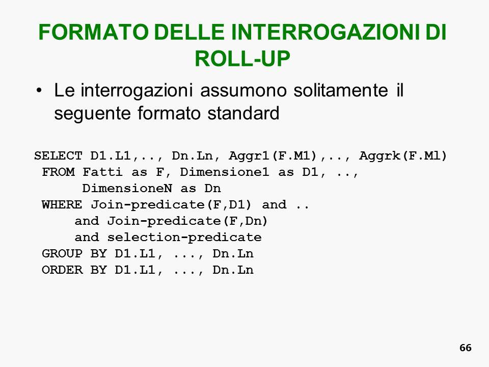 FORMATO DELLE INTERROGAZIONI DI ROLL-UP