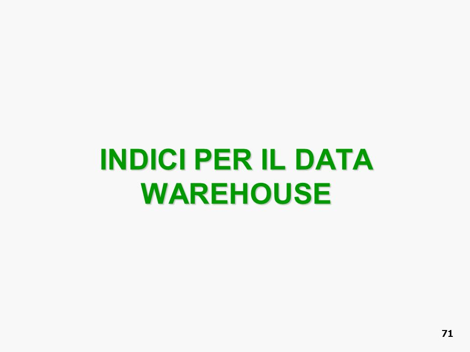 INDICI PER IL DATA WAREHOUSE