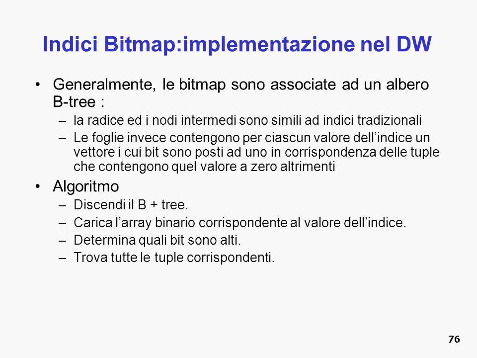 Indici Bitmap:implementazione nel DW