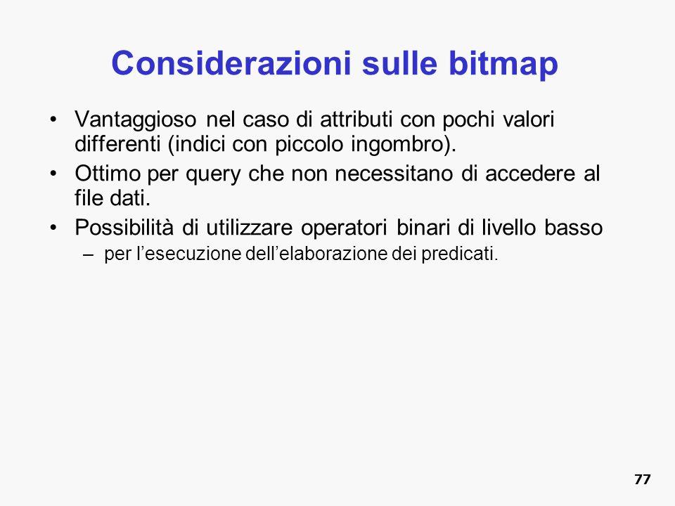 Considerazioni sulle bitmap