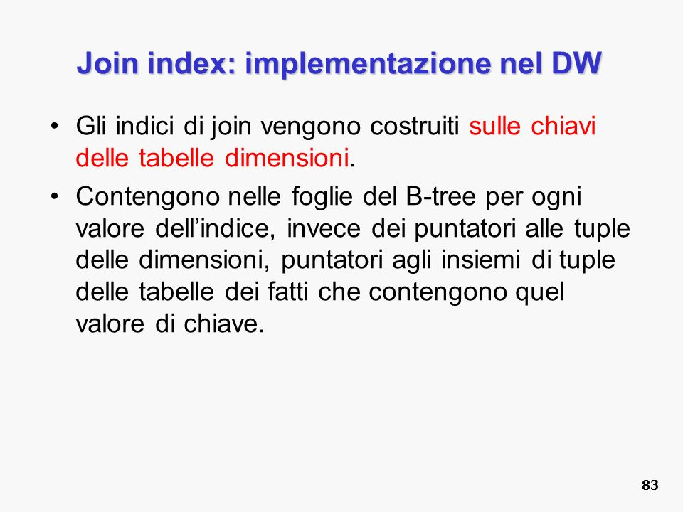 Join index: implementazione nel DW