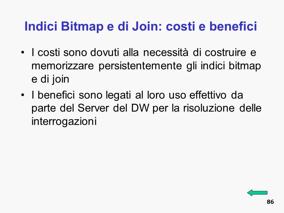 Indici Bitmap e di Join: costi e benefici