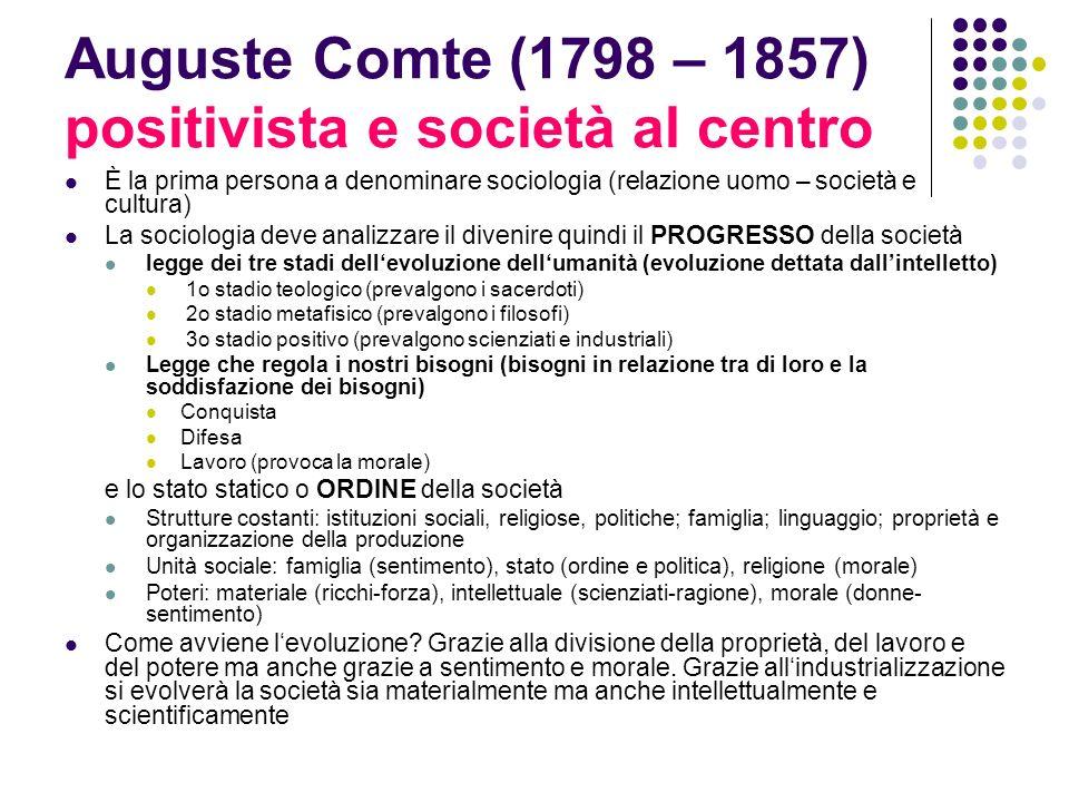 Auguste Comte (1798 – 1857) positivista e società al centro