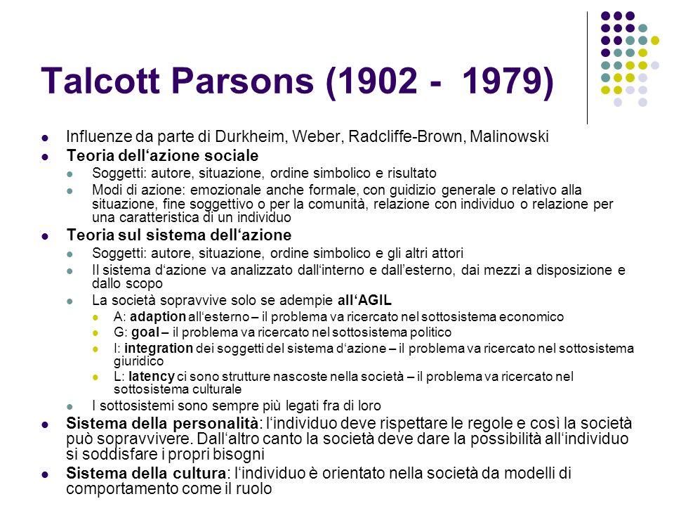 Talcott Parsons (1902 - 1979) Influenze da parte di Durkheim, Weber, Radcliffe-Brown, Malinowski. Teoria dell'azione sociale.