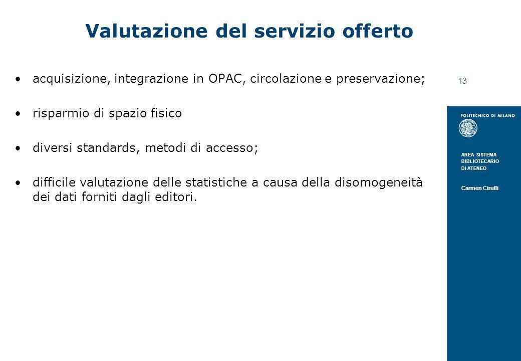 Valutazione del servizio offerto