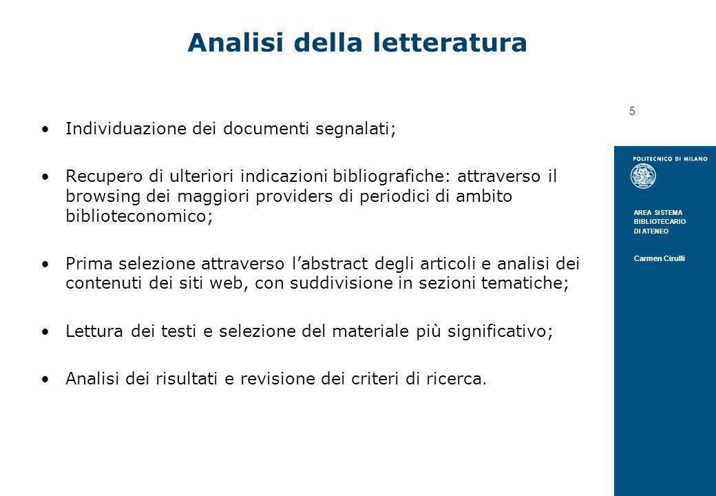 Analisi della letteratura