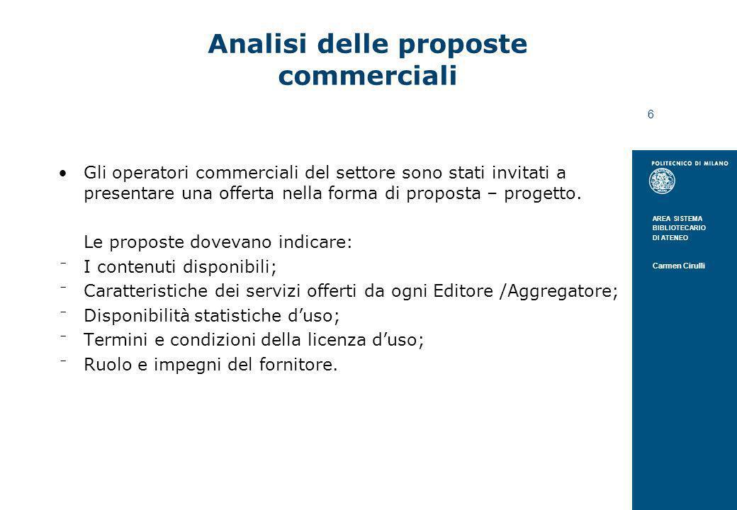 Analisi delle proposte commerciali