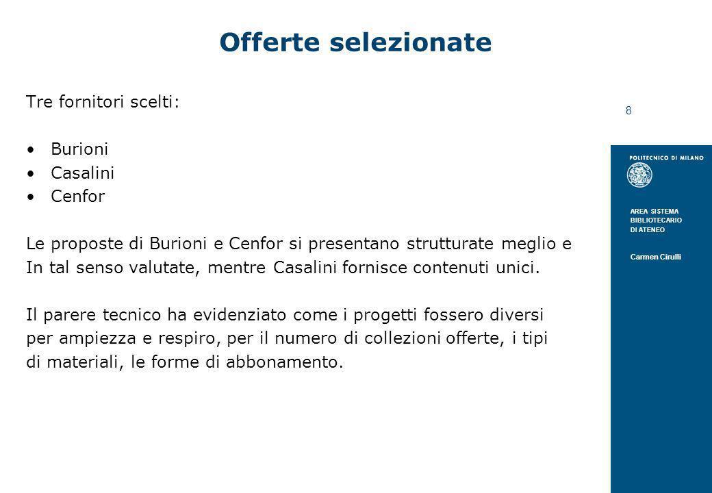 Offerte selezionate Tre fornitori scelti: Burioni Casalini Cenfor
