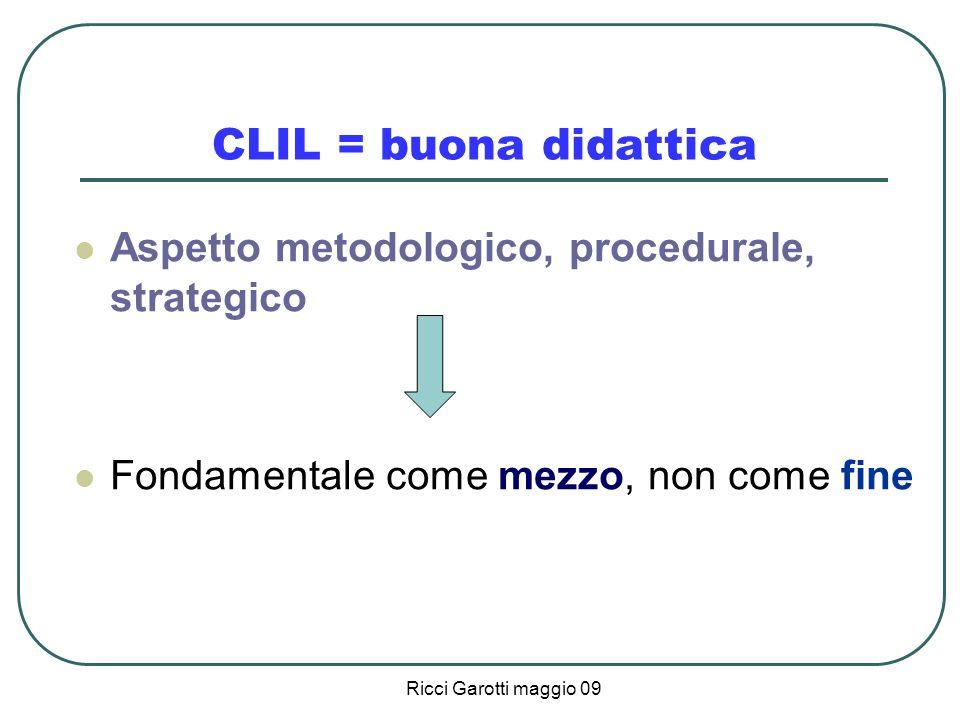CLIL = buona didattica Aspetto metodologico, procedurale, strategico