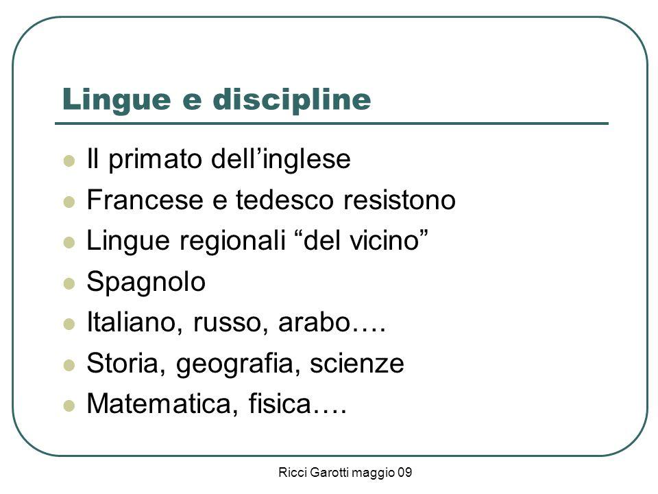 Lingue e discipline Il primato dell'inglese