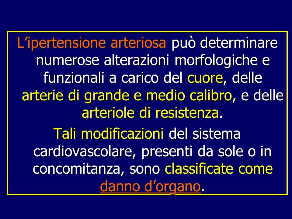 L'ipertensione arteriosa può determinare numerose alterazioni morfologiche e funzionali a carico del cuore, delle arterie di grande e medio calibro, e delle arteriole di resistenza.