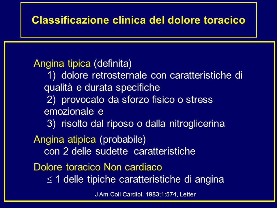 Classificazione clinica del dolore toracico