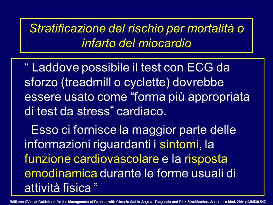 Stratificazione del rischio per mortalità o infarto del miocardio