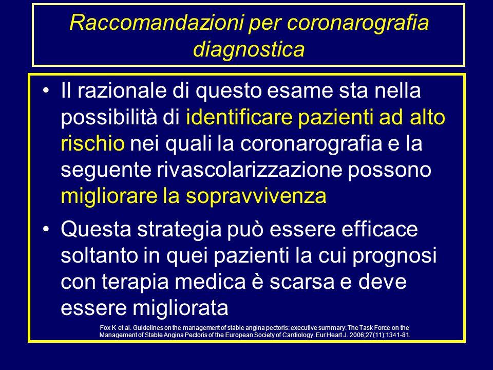 Raccomandazioni per coronarografia diagnostica