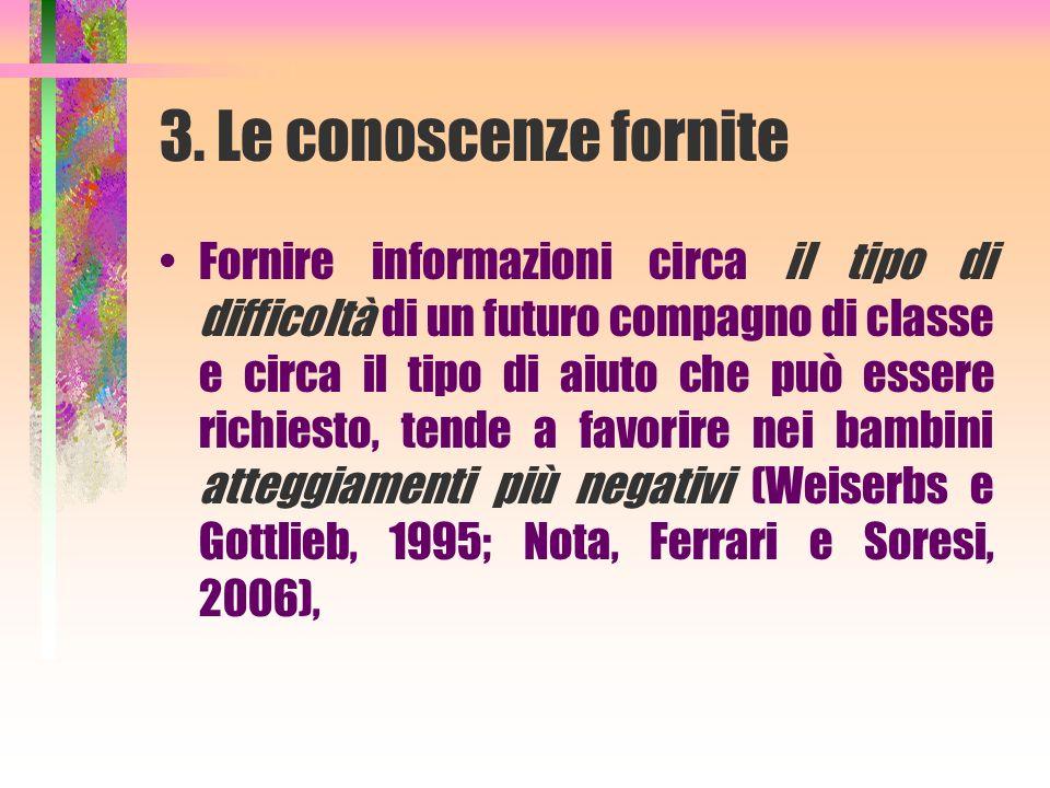 3. Le conoscenze fornite
