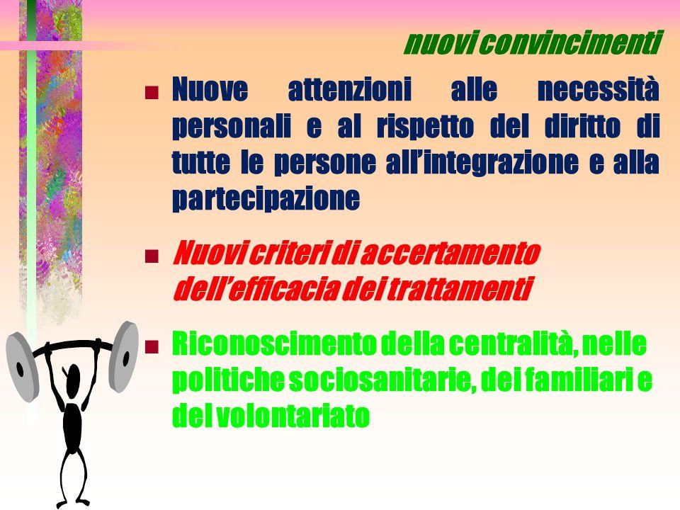 nuovi convincimenti Nuove attenzioni alle necessità personali e al rispetto del diritto di tutte le persone all'integrazione e alla partecipazione.