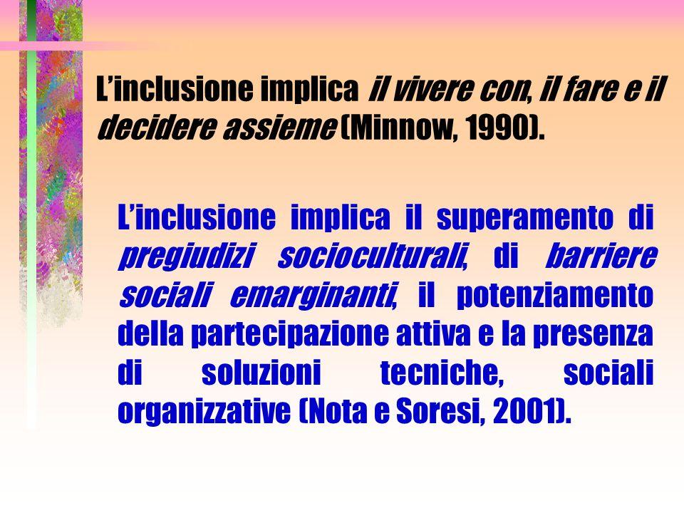 L'inclusione implica il vivere con, il fare e il decidere assieme (Minnow, 1990).