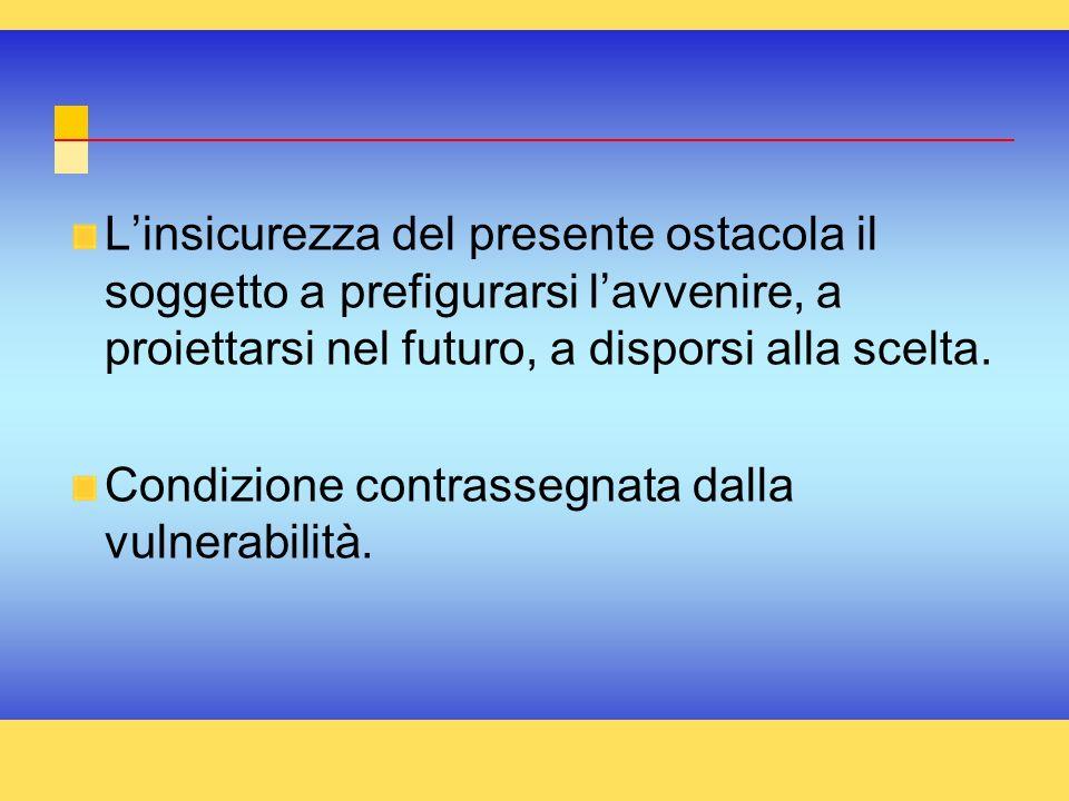L'insicurezza del presente ostacola il soggetto a prefigurarsi l'avvenire, a proiettarsi nel futuro, a disporsi alla scelta.