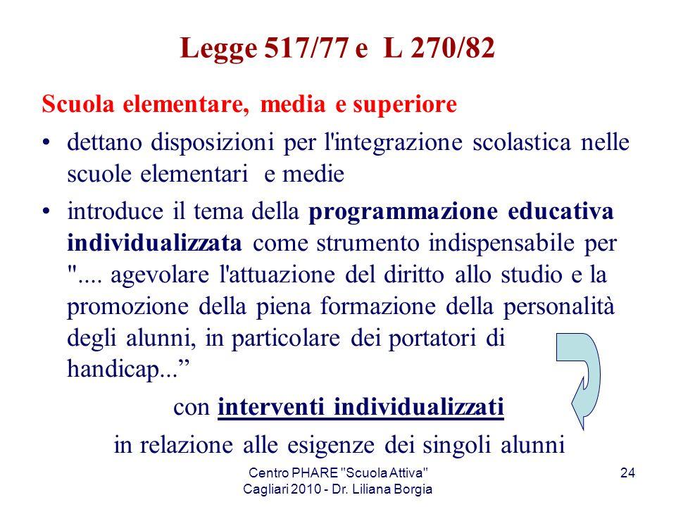 Legge 517/77 e L 270/82 Scuola elementare, media e superiore