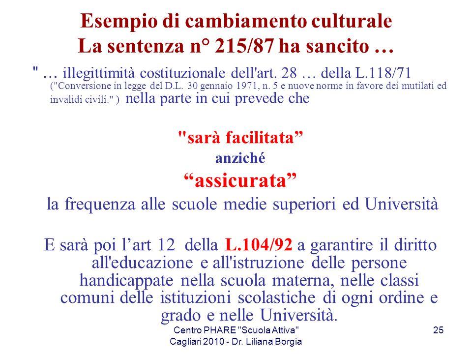 Esempio di cambiamento culturale La sentenza n° 215/87 ha sancito …