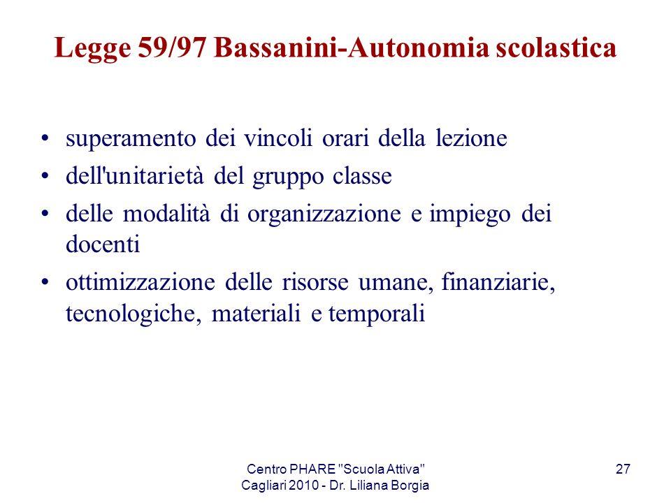 Legge 59/97 Bassanini-Autonomia scolastica