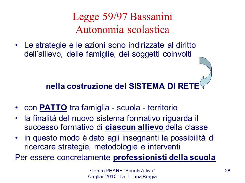 Legge 59/97 Bassanini Autonomia scolastica