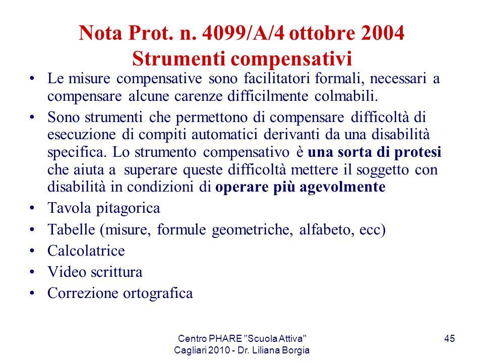 Nota Prot. n. 4099/A/4 ottobre 2004 Strumenti compensativi