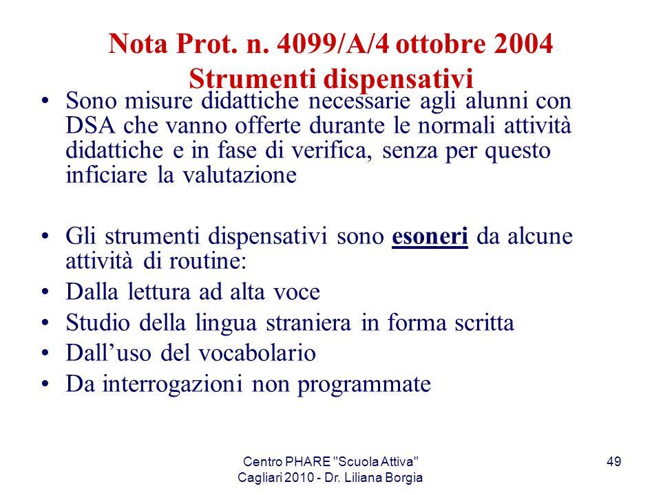 Nota Prot. n. 4099/A/4 ottobre 2004 Strumenti dispensativi