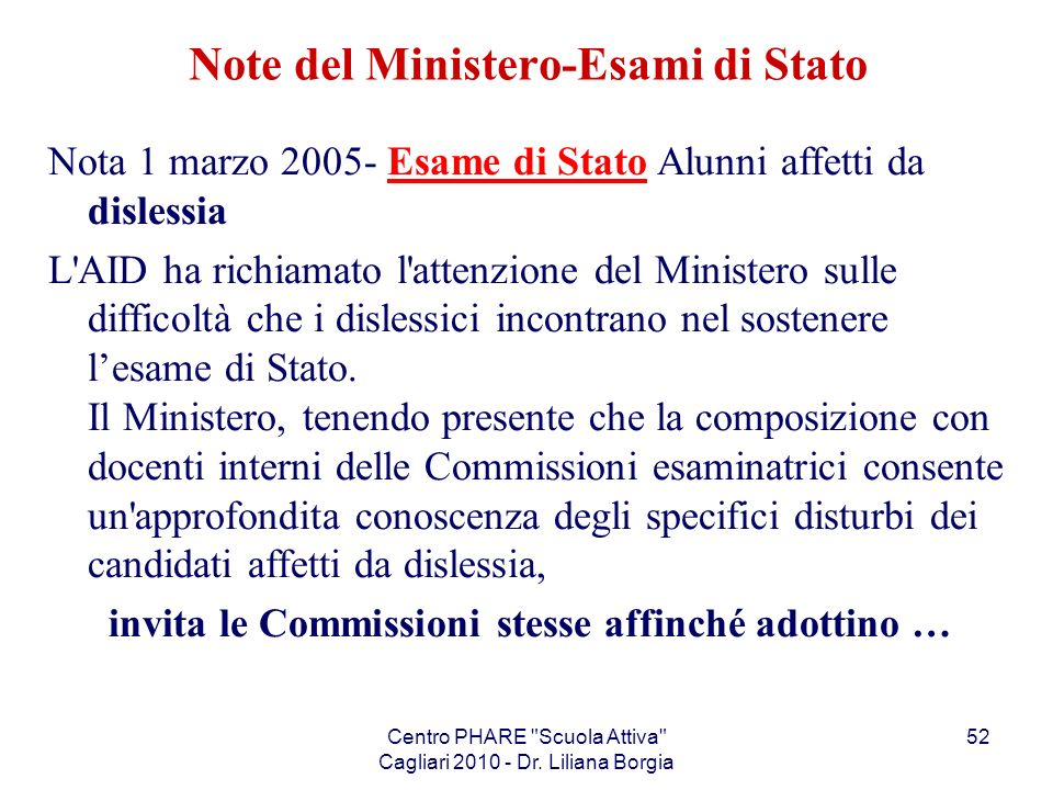 Note del Ministero-Esami di Stato