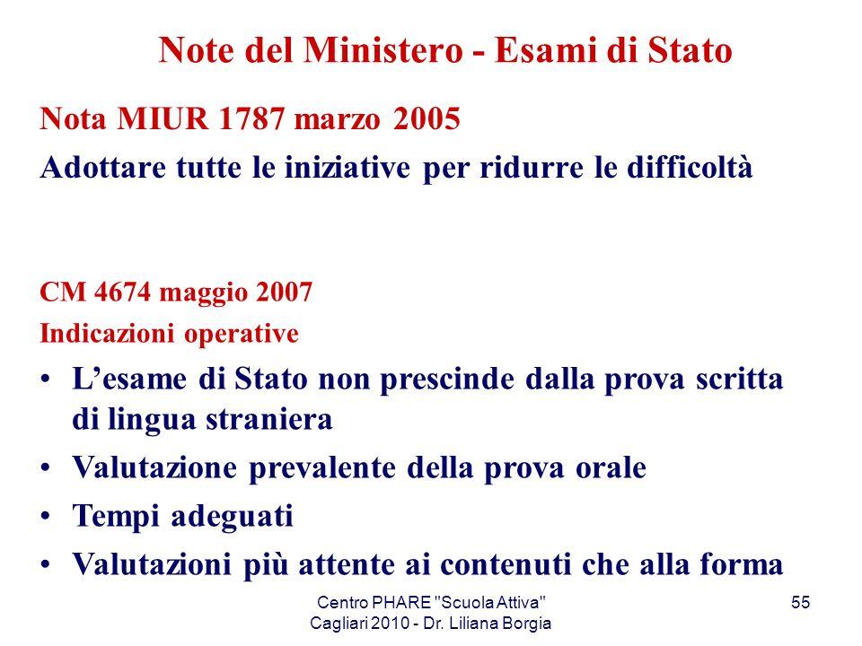 Note del Ministero - Esami di Stato