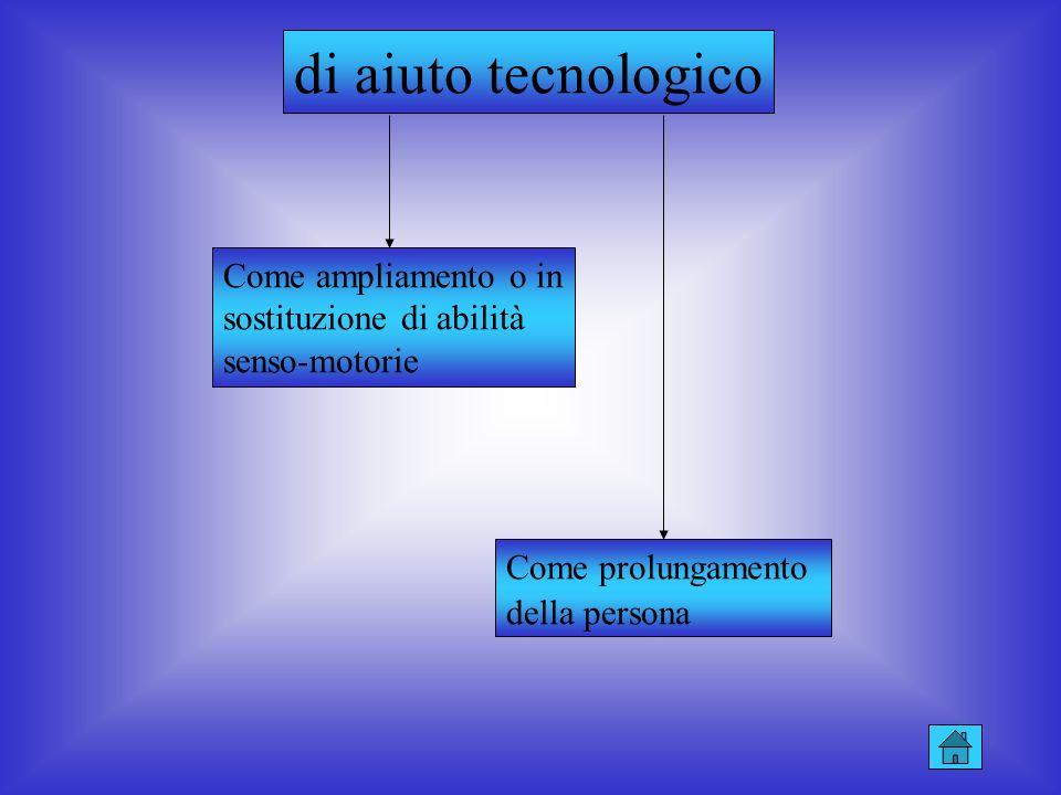 di aiuto tecnologico Come ampliamento o in sostituzione di abilità senso-motorie. Come prolungamento.