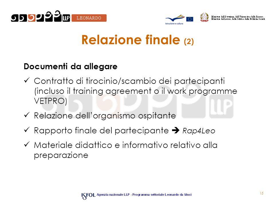 Relazione finale (2) Documenti da allegare