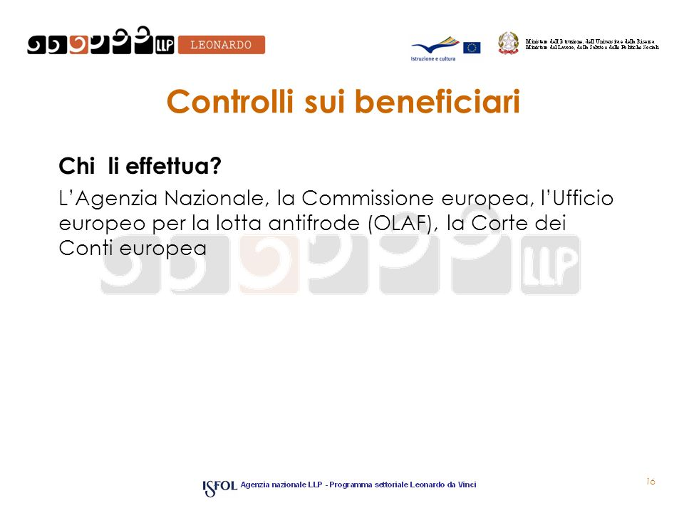 Controlli sui beneficiari