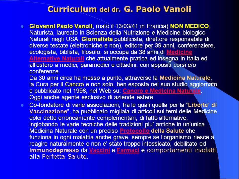 Curriculum del dr. G. Paolo Vanoli