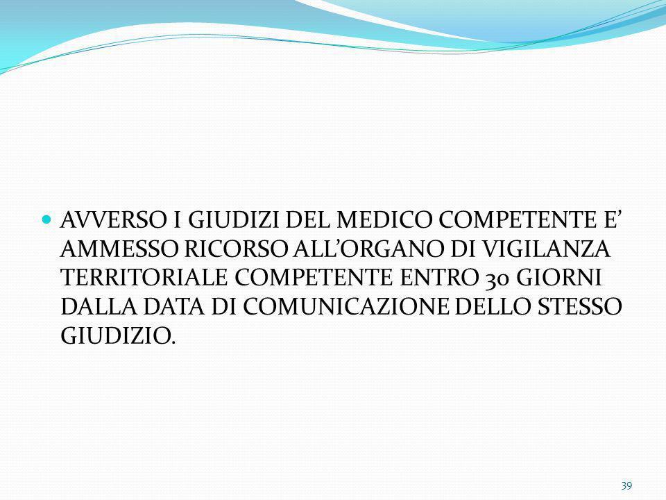 AVVERSO I GIUDIZI DEL MEDICO COMPETENTE E' AMMESSO RICORSO ALL'ORGANO DI VIGILANZA TERRITORIALE COMPETENTE ENTRO 30 GIORNI DALLA DATA DI COMUNICAZIONE DELLO STESSO GIUDIZIO.