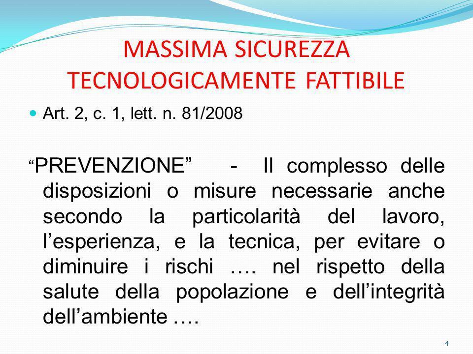 MASSIMA SICUREZZA TECNOLOGICAMENTE FATTIBILE