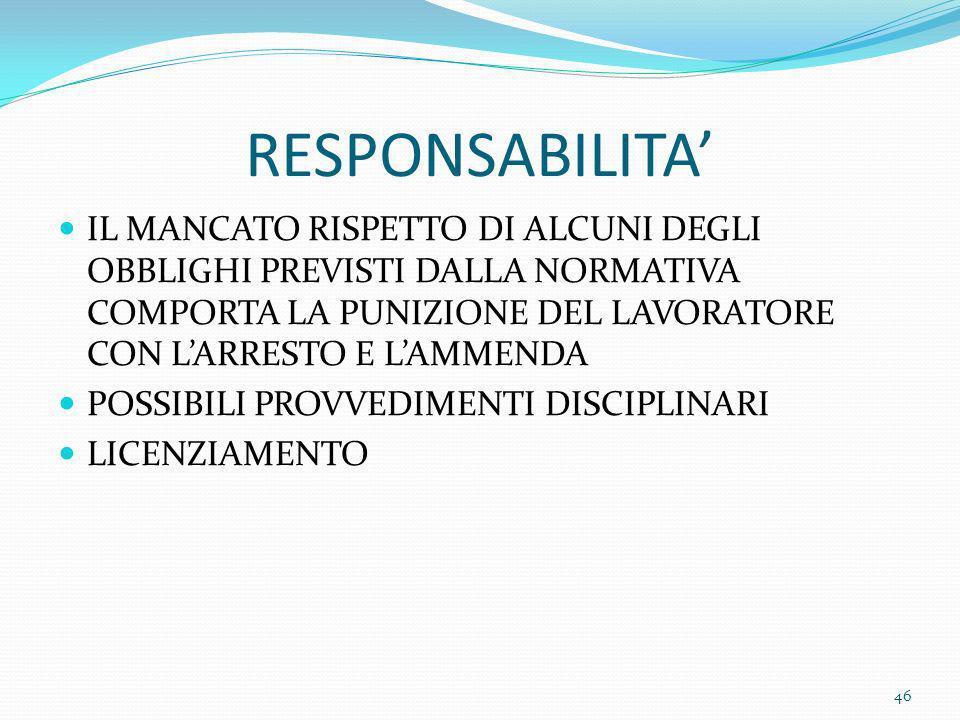 RESPONSABILITA' IL MANCATO RISPETTO DI ALCUNI DEGLI OBBLIGHI PREVISTI DALLA NORMATIVA COMPORTA LA PUNIZIONE DEL LAVORATORE CON L'ARRESTO E L'AMMENDA.