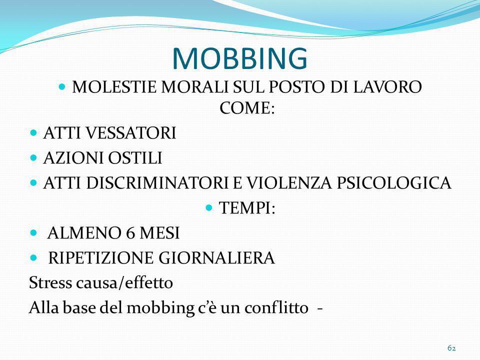 MOLESTIE MORALI SUL POSTO DI LAVORO COME: