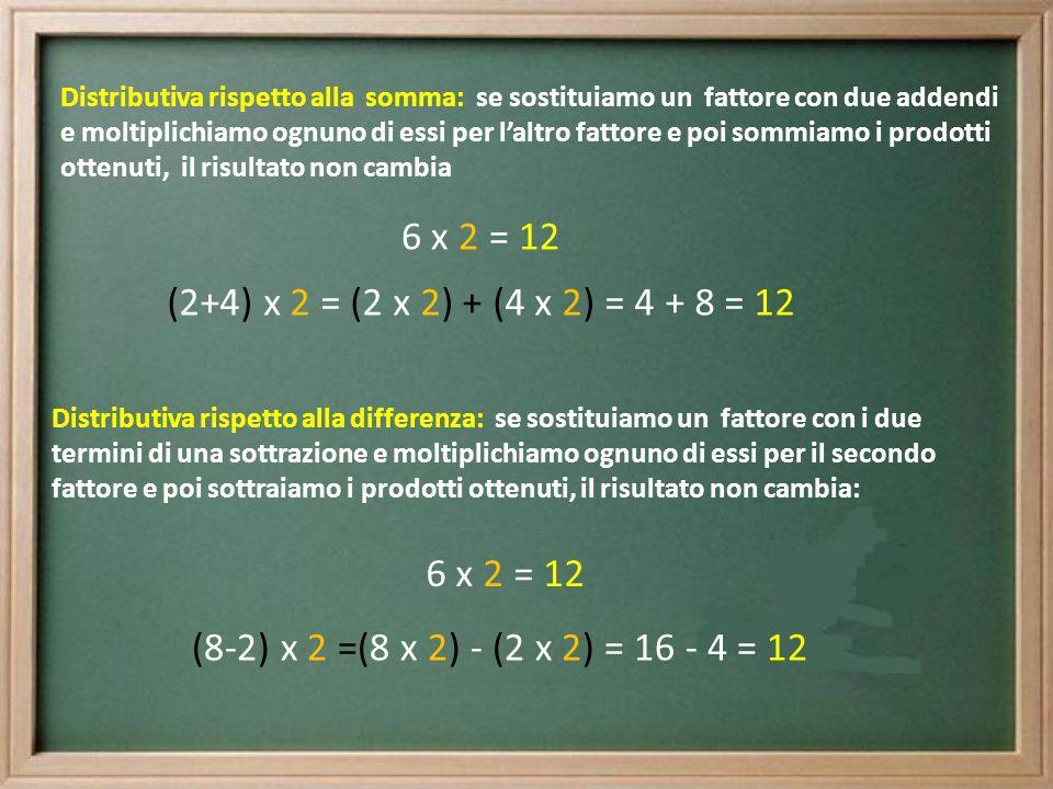 Distributiva rispetto alla somma: se sostituiamo un fattore con due addendi e moltiplichiamo ognuno di essi per l'altro fattore e poi sommiamo i prodotti ottenuti, il risultato non cambia
