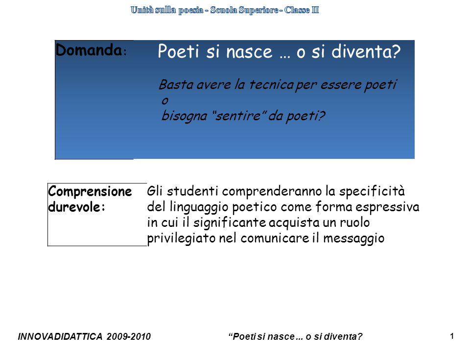 Unità sulla poesia - Scuola Superiore - Classe II