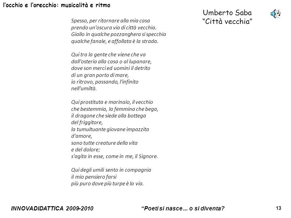 Umberto Saba Città vecchia