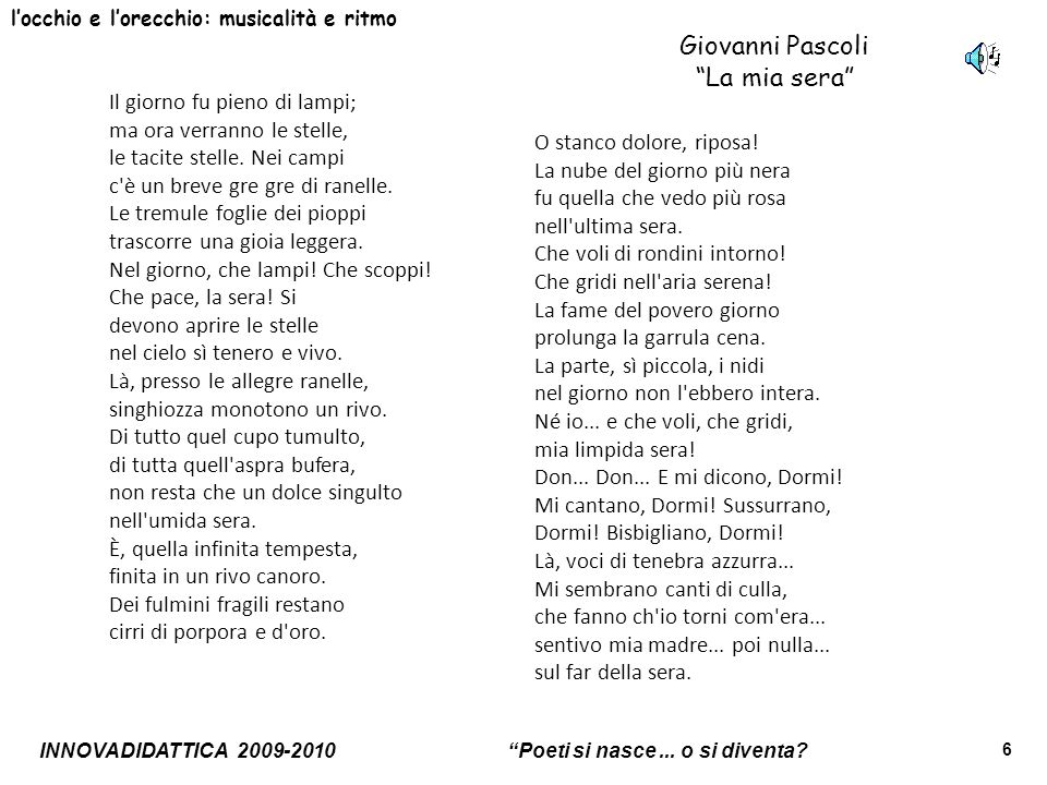Giovanni Pascoli La mia sera