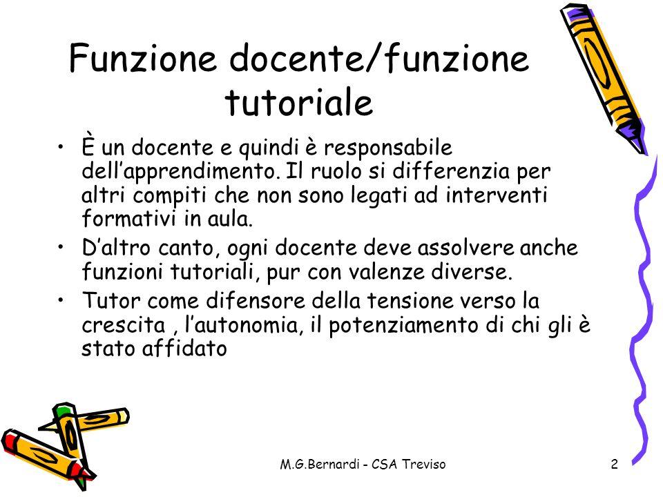 Funzione docente/funzione tutoriale