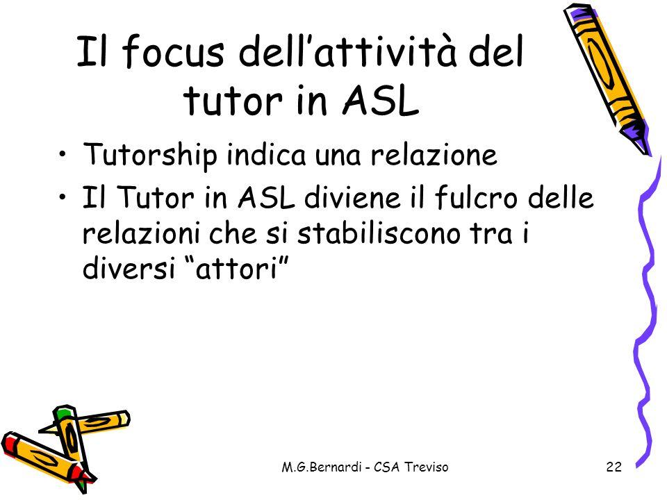 Il focus dell'attività del tutor in ASL