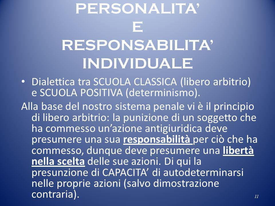 PERSONALITA' E RESPONSABILITA' INDIVIDUALE