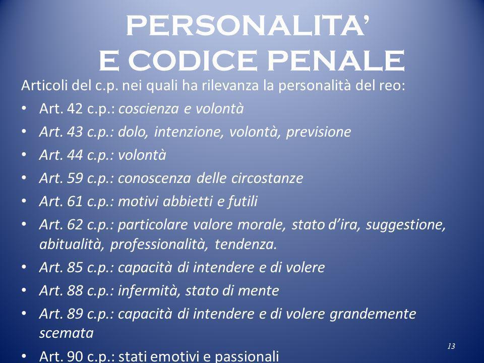 PERSONALITA' E CODICE PENALE