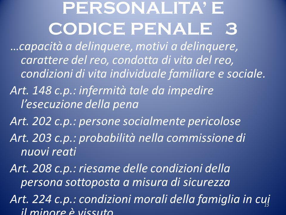 PERSONALITA' E CODICE PENALE 3