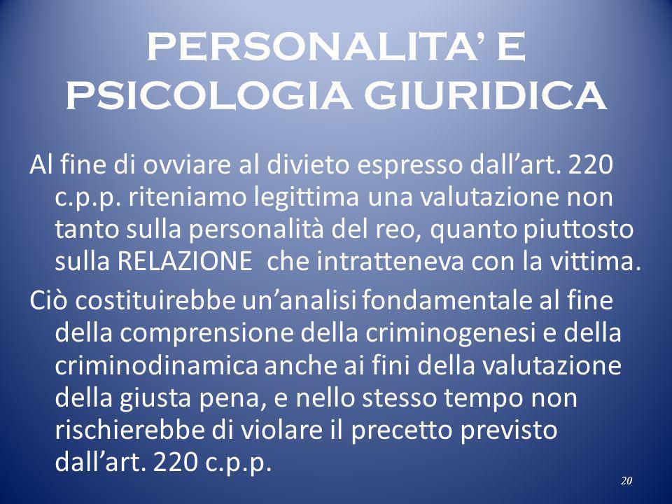PERSONALITA' E PSICOLOGIA GIURIDICA